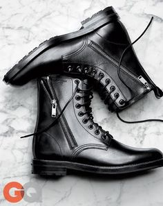 The Best Men's Fashion: GQ Endorses --- Black Combat Boots FALL 2014