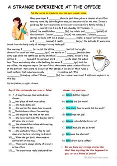 RC: A strange experience at the office - English ESL Worksheets for distance learning and physical classrooms English Test, English Study, English Lessons, Learn English, English Grammar Worksheets, Vocabulary Worksheets, English Vocabulary, Simple Present Tense, Reading Comprehension Worksheets