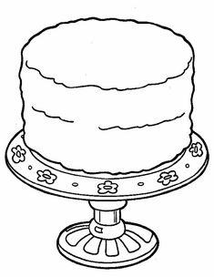 Gratis kleurplaat grote taart op een luxe schaa