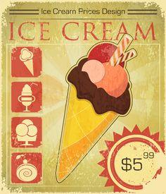 Vintage Ice Cream Posters | Ice cream retro poster design