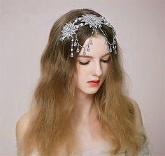 Wedding Bridal Crystal Pearl Silver Crown Headband Tiara Flower Hair Accessories - BUY NOW ONLY 39.99