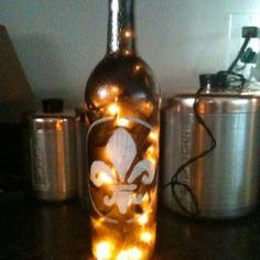 Painted wine bottle lights!