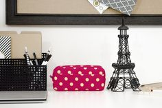 Polka Dot Pencil Cosmetic Case Bag with Zippered Top, 8-Inch x 4-Inch, Pink/Cream