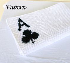 Ace of clubs afghan PDF crochet PATTERN blanket white black throw clover poker card neutral home decor coverlet washable fun