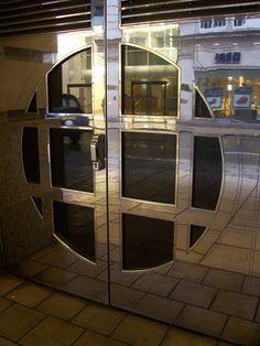 art deco style round double doors mirrored