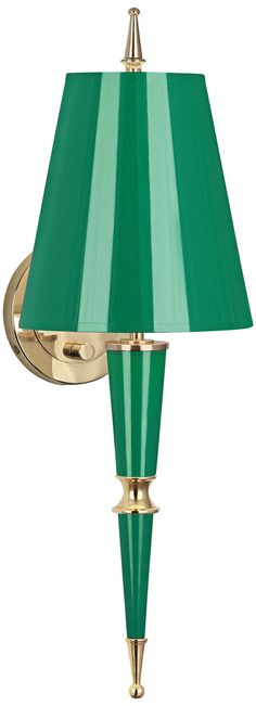 Versailles 23 And One Quarter Inchh Emerald Shade Emerald Lacquer Wall Lamp Modern Wall Sconces, Gold Interior, Jonathan Adler, Saturated Color, Matte Gold, Lamp Design, Wall Lights, Wall Lamps, Versailles