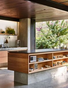 bCd This kitchen exemplifies all we want in 2019 Terrazzo floor tick warm wood tick open shelves tick and outside right there tick Modern Kitchen Design, Interior Design Kitchen, Terrazzo Flooring, The Design Files, Cuisines Design, Home Decor Kitchen, Kitchen Ideas, Home Renovation, Interior Architecture