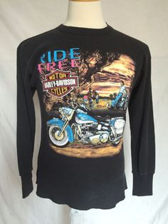 Harley-Davidson Womens Top Medium Black Long Sleeves Zooks Des Moines USA Made | eBay