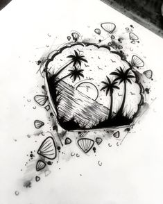 Buddha Tattoo Design, Tattoo Design Drawings, Tattoo Designs, Ocean Tattoos, Infinity Tattoos, Shell Tattoos, Beautiful Flower Tattoos, Pretty Tattoos, Mini Tattoos
