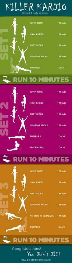 Killer Cardio Workout Want to loose a little extra weight before bikini season? Then try this Killer Kardio workout, perfect to help you burn fat and get into shape! Fitness Workouts, Fitness Motivation, Sport Fitness, Body Fitness, Fitness Diet, Fun Workouts, At Home Workouts, Health Fitness, Fitness Plan