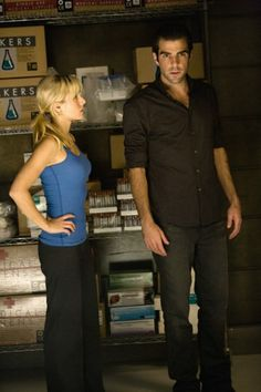 Kristen Bell as Elle Bishop, and Zachary Quinto as Sylar in Heroes.