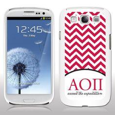 Alpha Omicron Pi Samsung Galaxy S3 White Slim Case - Red Chevron Stripes VictoryStore http://www.amazon.com/dp/B00FG29490/ref=cm_sw_r_pi_dp_O5Y7vb039E0TR
