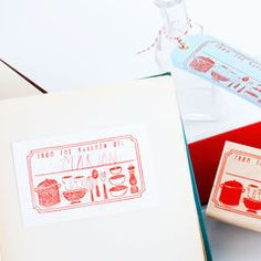 Stamp sets. Use this jumbo stamp to personalize cookbooks and custom recipe cards or labels for baked and canned goods! A great gift to give any cook. The included ink pads works even works on fabric so you can stamp on tea towels or table linens! $20