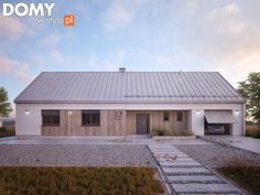 Modern Bungalow Exterior, Exterior House Colors, Style At Home, Steel Frame House, Farmhouse Architecture, Contemporary Barn, Barn Renovation, Small Cottages, Weekend House