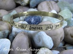 """Pooh Friendship Quote Gold Bangle We'll Be Friends Until Forever...This brass bangle is hand stamped with a whimsical quote from Winnie the Pooh.  It says """"We'll be friends until forever just you wait and see.""""  Your bestie will light up when you present her with this sweet thoughtful gift."""