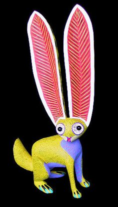 Oaxacan Wood Carving Arsenio Morales alebrijes rabbit bunny