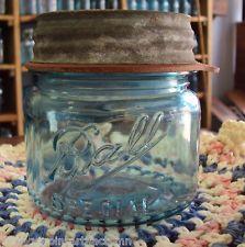 Vintage Blue Ball SPECIAL Wide Mouth PINT Mason Jar w/ ZINC Lid Drop A Squatty !