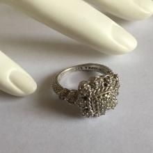 Sterling silver pave set White CZ ring, size 8