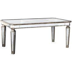 Add an elegant accent to your dining experience with the graceful design of this mirrored table. The wood and glass construction enhances the delicate, yet durable appeal of this table.