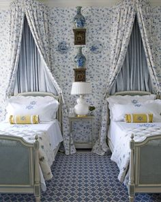Sweet blue & white twin bedroom by Cathy Kincaid; same canopy fabric and wallpaper create seamless backdrop: Guest Bedrooms, Girls Bedroom, Bedroom Decor, Guest Room, Decorating Bedrooms, Bedroom Ideas, Budget Bedroom, Bedroom Curtains, Bedroom Designs