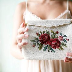 beaded vintage purse clutch evening bag floral by whichgoose