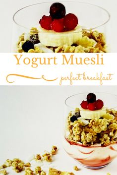 Both cereal and yogurt scream breakfast .but together they scream fancy breakfast, and that is what we love. Fast, fancy and great looking recipes to make us feel pampered and spoiled . Perfect Breakfast, Breakfast Ideas, Muesli, Dessert Recipes, Desserts, Lunches And Dinners, Us Foods, Yogurt, Food To Make