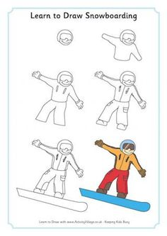 Sports drawings for kids learn to draw snowboarding crafts art handouts drawing lessons drawing for kids Drawing For Kids, Art For Kids, Crafts For Kids, Arts And Crafts, Learn Drawing, Drawing Drawing, Woman Drawing, Snowboards, Drawing Lessons