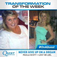 Click & read how Paula lost 80 lbs. with clean eating, Zumba, & weight training. She then ended up becoming a Zumba instructor to help inspire & motivate others. #OnaQuest