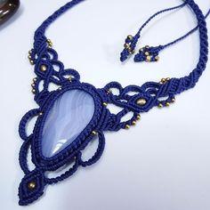 Macrame Necklace Pendant Blue Lace Agate Stone Waxed Cord Handmade Cabochon #Handmade #Wrap