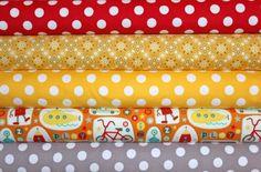 Flannel Boy Bundle - Boy Crazy Sasparilla Medium Dots - Yellow Red Gray Orange - Baby Boy Little Boy - Riley Blake Flannel Fabric - 5 yards