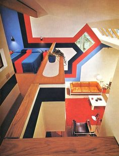 1970s interior design - love the matching bedspread and walls!