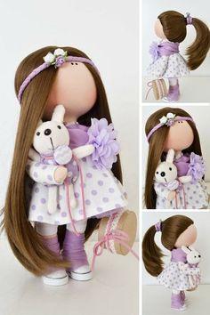 Handmade doll Rag doll Cloth doll Decor doll Soft doll violet Fabric doll…: