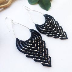 Black beaded macrame earrings with sterling silver. The size is 4 inch with earwire. Materials: black nylon macrame cord 0,8 mm, sterling silver beads 1,8 mm, sterling silver connector, sterling silver earwire. Beautiful and natural materials plus my own macrame design in black color