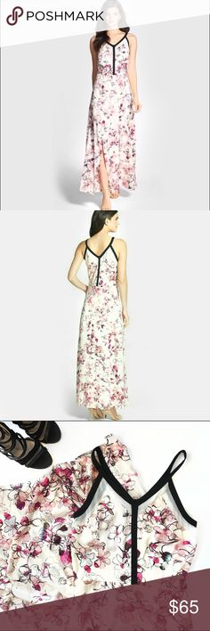 Cherry Blossom Maxi Dress Chelsea28 ( Nordstrom) maxi dress with cherry blossom print and black piping. Long slit up the side! Great condition! 👌🏻 Chelsea28 Dresses Maxi