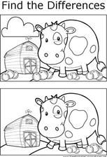 Hone your observation skills by finding the differences between the two pictures of a cow on a farm in this printable coloring page. Preschool Learning Activities, Preschool Worksheets, Kids Learning, Activities For Kids, Farm Coloring Pages, Coloring Pages For Kids, Coloring Books, Spot The Difference Printable, Hidden Pictures