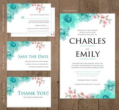 Watercolor wedding invitations, Floral Save the Date, RSVP, Thank You Card, Custom Set of 100