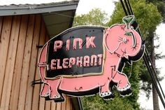 Pink elephant neon sign