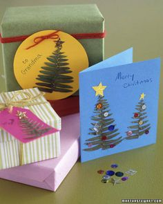 Fern Christmas Tree Cards for Kids