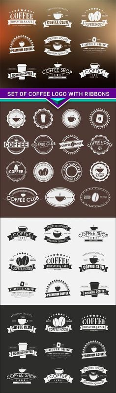 Set of coffee logo with ribbons EPS - Coffee Set - Ideas .- Set of coffee logo with ribbons EPS – Coffee Set – Ideas of Coffee Set Set of coffee logo with ribbons EPS – Coffee Set – Ideas of Coffee Set – Set of coffee logo with ribbons EPS - Coffee Carts, Coffee Club, Coffee Set, Best Coffee, Coffee Shop Branding, Coffee Shop Logo, Coffee Shop Design, Kombi Food Truck, Cafe Logos