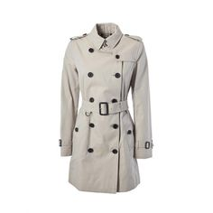Kensington Belted Trench Coat (432.570 HUF) ❤ liked on Polyvore featuring outerwear, coats, stone, burberry, long sleeve coat, trench coats, burberry coat and button coat