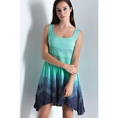 Entro Dip Dye Ruffle Dress ($33) ❤ liked on Polyvore featuring dresses, mint, see through dress, mint green dress, flounce dress, frill dress and two-tone dress