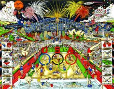 "Olympic Games, 2000 - Sydney, Australia 25.5"" x 20"" -- #3Dpopart by Charles Fazzino.   #sydneyolympics  #Sydney2000 #2000olympics #SummerOlympics  #OlympicGames"