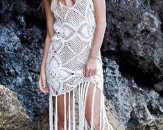 Items similar to Crochet Fishnet Open Back Mini Dress , Long Sleeve Dress ,Wedding Party Dress, Costume Dress, Design Dress. on Etsy Festival Dress, Festival Outfits, Wedding Party Dresses, Bridal Dresses, Crochet One Piece, Crochet Lace, Gypsy, Boho Hippie, Crochet Wedding