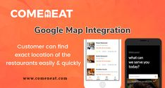 Comeneat - Online Food Ordering With Dispatch  Google Map Integration  Customer can find exact location of the restaurants easily & quickly  #Comeneat #onlinefoodorderingsystem #Justeatclone #FoodPandaClone #onlineorderingsoftware #onlineorderingsystemforbusiness #restaurantonlineorderingapp Delivery App, Order Food, A Food, Restaurants, Software, Map, Google, Diners, Location Map