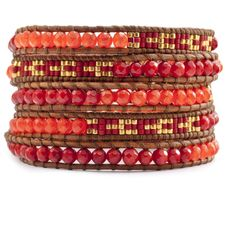 Red Coral Beaded Mix Wrap Bracelet on Natural Brown Leather