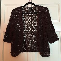 Dark Brown with sequins shrug Brown flower pattern knitted cover up with silver rhinestones and delicate elbow length sleeves. INC International Concepts Sweaters Shrugs & Ponchos
