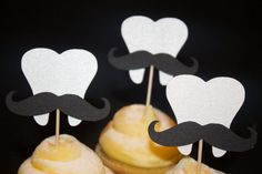 Set of 12 Mini Moustache Tooth Party toothpicks by PoshMyParty