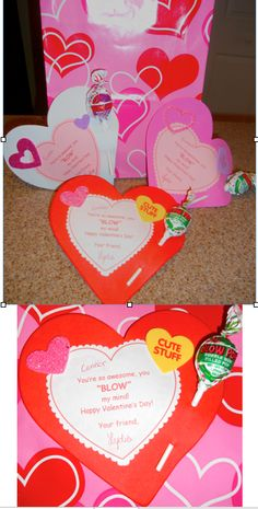 """Homemade Valentines - You """"BLOW"""" my mind Valentines....made with foam hearts, with a printed out personalized message glued on, Valentine's stick-on decor & 2 hole punched with a Blow Pop inserted as a treat.  Easy & unique!"""