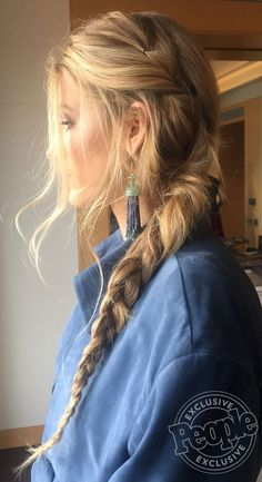 Blake Lively with a long side braid - click through to see more of her press tour hairstyles + details!