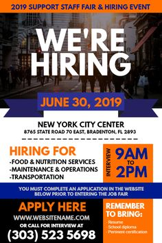 Blue Orange Hiring Flyer Design Click To Customize Sample Flyers Poster
